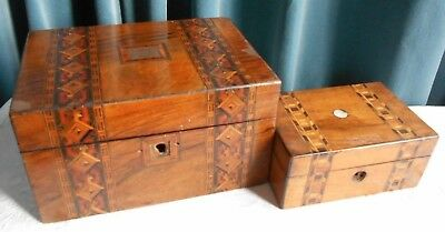 Antique Boxes with Tunbridge Ware Banding