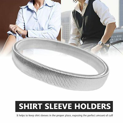 Pair Silver Vintage Style Sleeve Holders Armbands Stretch Metal Shirt Garters S1