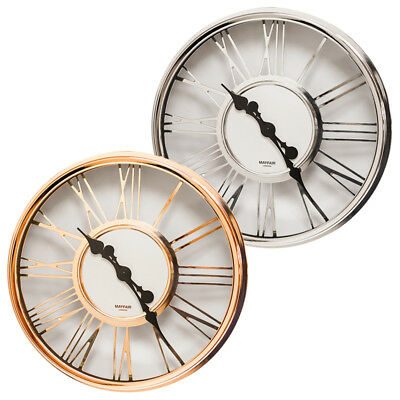 "Mayfair & Co Large 17"" Numeral Modern Round Wall Clock Chrome Copper Effect"