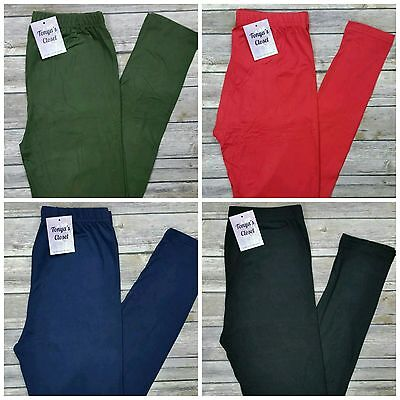 Girls Kids Solid Buttery Soft Leggings 10+ Colors Sizes S/M 3T-6 and L/XL 6-10