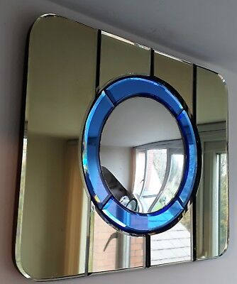 AN ORGINAL ART DECO VINTAGE 1930s PORTHOLE MIRROR IN GREEN & BLUE.