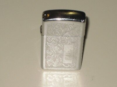 Vintage 1976 Zippo Slim Etched Venetian High Polish Chrome Lighter