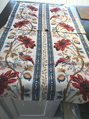 "Brunschwig  Fils Le Lac  Blue and Red Stripe Linen Fabric 25"" x 21"" Fat Quarter"