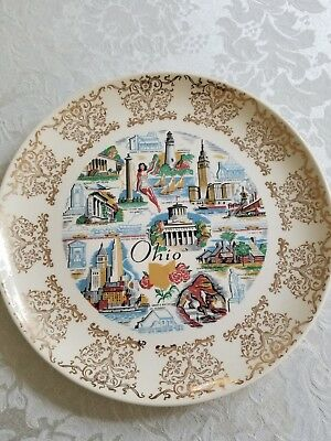 Taylor Smith & Taylor China. State of Ohio Color Souvenir plate. Marked 7-55-1