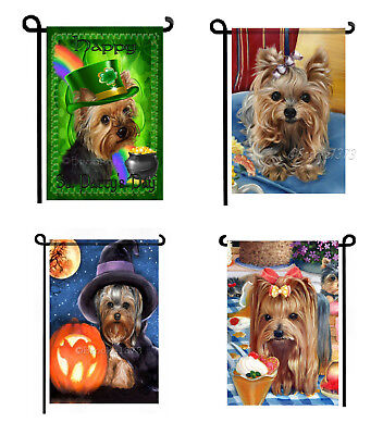4 GARDEN FLAGS not perfect YORKIE painting Dog Art Yorkshire Terrier puppy