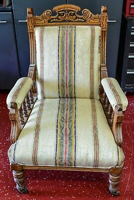 Victorian Renaissance Revival Armchair Parlor Chair with Contemporary Upholstery