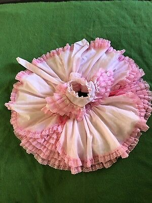 Vtg Handmade 2 T 24 Mo Toddler Gown Dress Frill Lace Pink Bow Print Perfect Cond