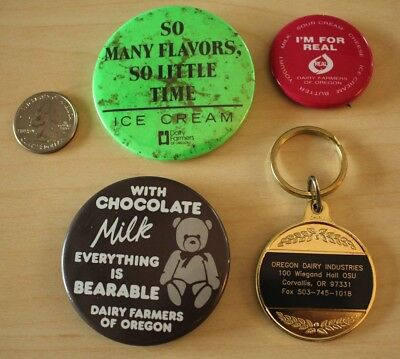 Lot of 4 Oregon Dairy Farmers Milk Keychain Pinbacks Buttons #31345