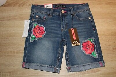 NEW Jordache Girl's Bermuda Denim Jean Shorts Roses