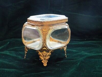 French Antique 1852-1870 Napoleon III Beveled Glass Casket Jewelry Box