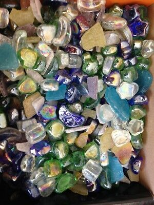 "Coloured glass ""stones"" in blues, greens, clear, white, yellow 8.5kg"
