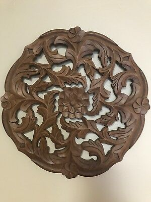 """DECORATIVE WOOD CARVED MEDALLION WALL HANGING MADE IN INDIA 14 1/2"""" Diameter"""
