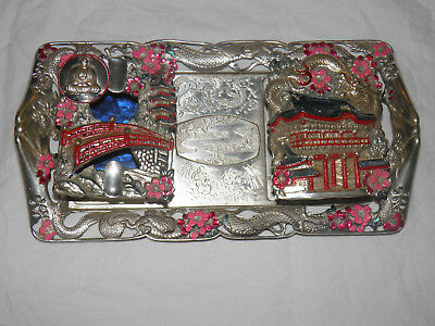 Antique Vintage Japanese Silver Silverplated Cigarette Tray Glass Inserts Blue