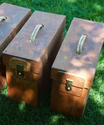 set of 2 Vintage Handmade Wooden Tool Storage Box Wood Chest Sewing Craft Decor