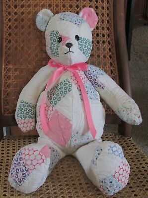 Handmade Teddy Bear Upcycled from Vintage Double Wedding Ring Quilt 20""