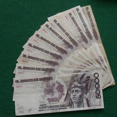 1986 Mexico 50000 Pesos bank note Cuauhtemoc 1 letter series lot of 10 used