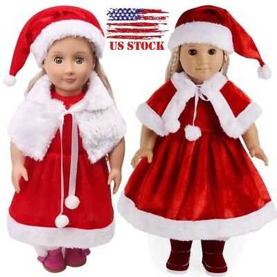 Christmas Dress Outfit Suit Doll Clothes For 18'' American Girl Xmas Gift US