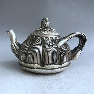 Chinese Antiques Tibetan silver hand-carved lotus teapot wine pot