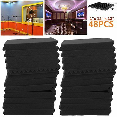 """48 Pack 1"""" x 12"""" x 12"""" Acoustic Foam Tiles Panel Wedge Studio Soundproofing Wall"""