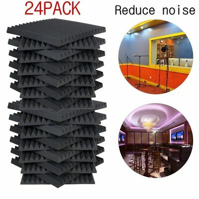 "24 Pack 1""x12""x12"" Acoustic Foam Tiles Panel Wedge Studio Soundproofing Wall HE"