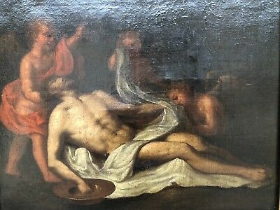 Top Museum Quality 17th Century oil Painting Signed / Christ & Angels / Belgium