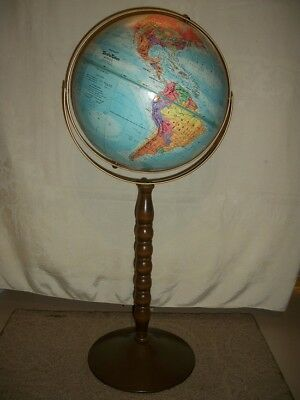 """Replogle 12"""" World Nation Floor Stand Relief Map Globe 30"""" Tall Educational"""
