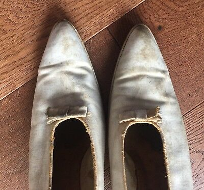 Antique Edwardian Shoes-Slippers-1920s-Womans White Wedding