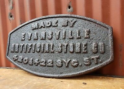 Antique Cast Iron Evansville Indiana Sidewalk Marker Plaque Tag Stamp 1800's