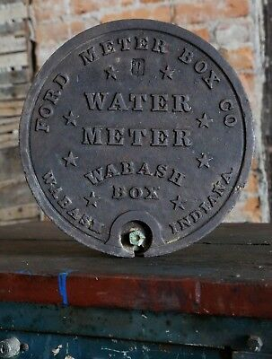 Antique Cast Iron Ford Meter Box Co. Wabash, Indiana Water Cover Sign Stars Old