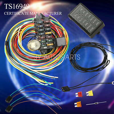12-14 CIRCUIT UNIVERSAL Wiring Harness Muscle Car Hot Rod Street Rod on universal car air filter, universal car remote control, universal car radio, universal car door handle, universal car seat, universal car water pump, universal car gas tank,