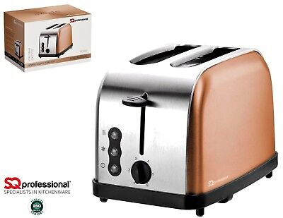 2 Slice Toaster Stainless Steel Fast Toast Reheat & Defrost Axinite Copper 900W