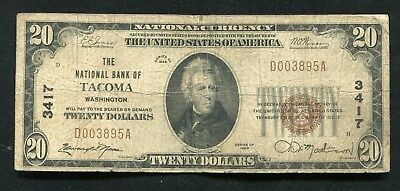 1929 $20 The National Bank Of Tacoma, Wa National Currency Ch. #3417