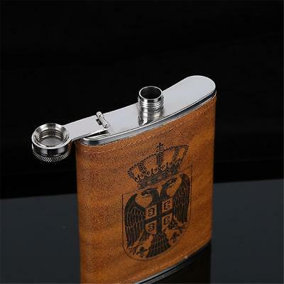 Engraved Leather Wrapped Stainless Steel 8 oz Hip Flask Portable Whiskey Flagon
