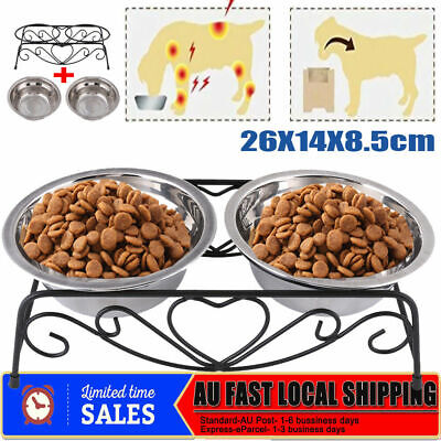 DUAL ELEVATED PET FEEDER 2 STEEL BOWLS Cat Dog RAISED Food Water Bowl Lifted NEW