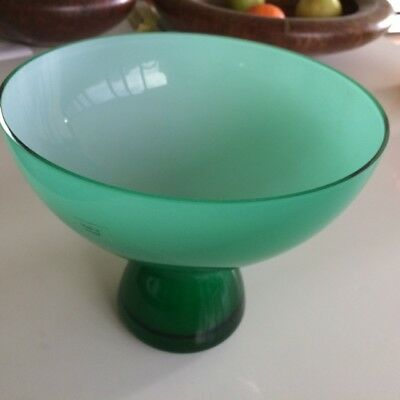 Funky Vintage Green Cased Glass Pedestal Bowl Made In Poland