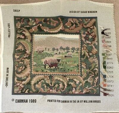 EHRMAN SHEEP by SARAH WINDRUM vintage TAPESTRY NEEDLEPOINT CANVAS - PART DONE