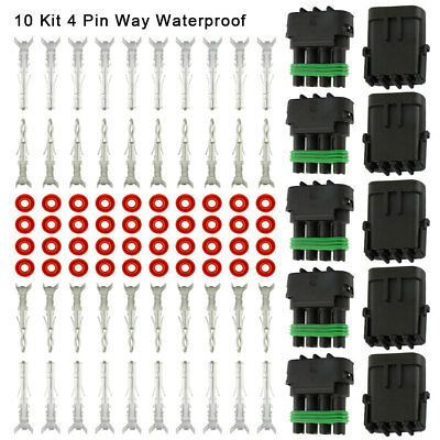 10 Kit 4 Pin Way Waterproof Electrical Wire Connector Plug Terminal Heat Shrink