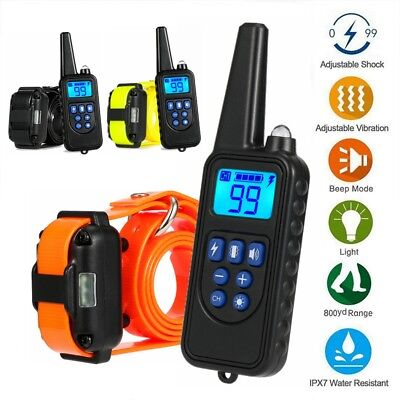 Electric Dog Shock Training Collar 875 Yard Remote Waterproof IP67 Rechargeable