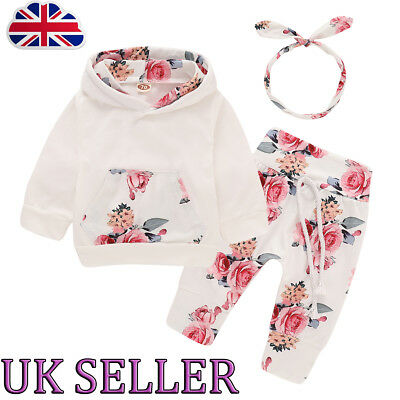 Infant Baby Girls Toddler Flowers Hooded Tops Headband Pants OUtfits Set Clothes