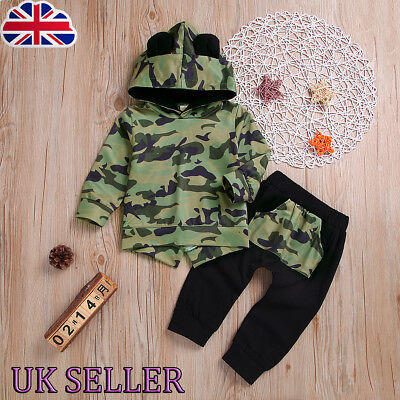 UK Baby Kids Girls Boys Toddler Camouflage Hooded Ears Tops Pants 2 Pcs Outfits