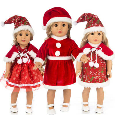 "Fits 18"" American Girl  Fashion Doll Clothes Dress Christmas Outfits Xmas Gift"
