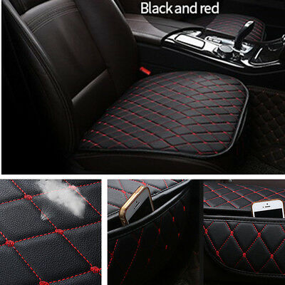 Black Red Leather Car Seat Cover Full Set Front Rear Seat Cushion Mat Protector