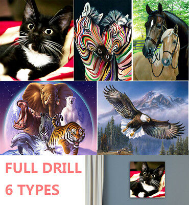 UK 6 Kind Full Drill Animals 5D Diamond Painting Embroidery Cross Stitch DIY Kit