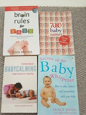 Baby Books- baby calming, brain rules, baby whisperer, 7000 baby names