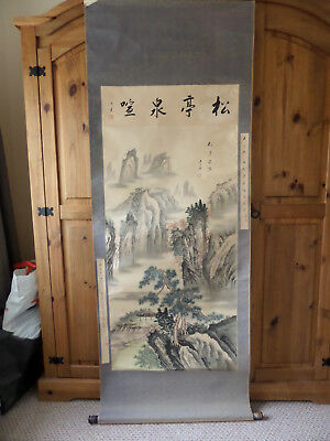 Large Antique Chinese Scroll Painting Signed