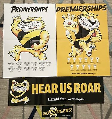 2018 Herald AFL Premierships Glossy Posters Richmond Tigers + Banner + Sticker