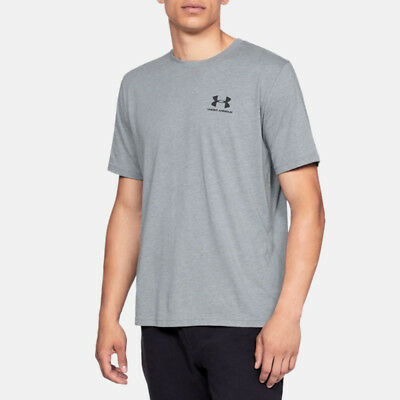 Under Armour Mens Sportstyle Left Chest T Shirt Tee Top Grey Sports Gym Running