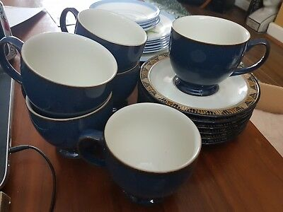 Denby Boston Spa Cups And Saucers X 6