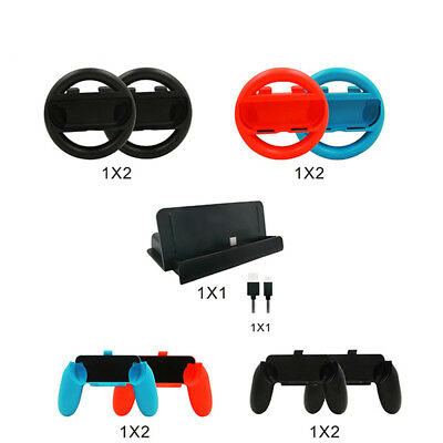 Nintendo Switch Accessory Kits Sets 10 in 1 Joy Con Grips Handle Controller US