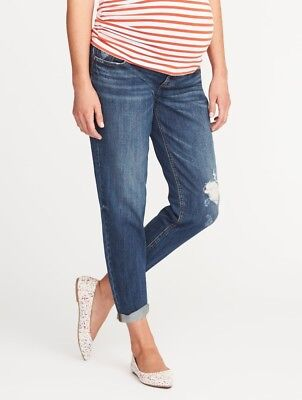 Old Navy Maternity Full Panel Boyfriend Destructed Skinny Jeans Size 16 NWT